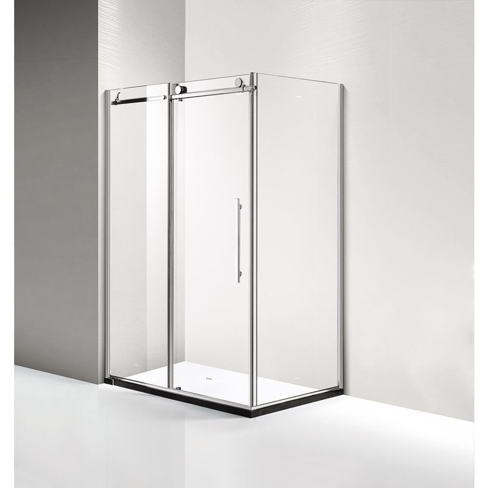60 in. x 56-3/8 in. Framed Sliding Bathtub Door Kit in Silver with ...