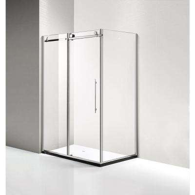 60 in. x 79 in. x 36 in. Luxury Frameless Sliding Shower Door Kit in Stainless Steel
