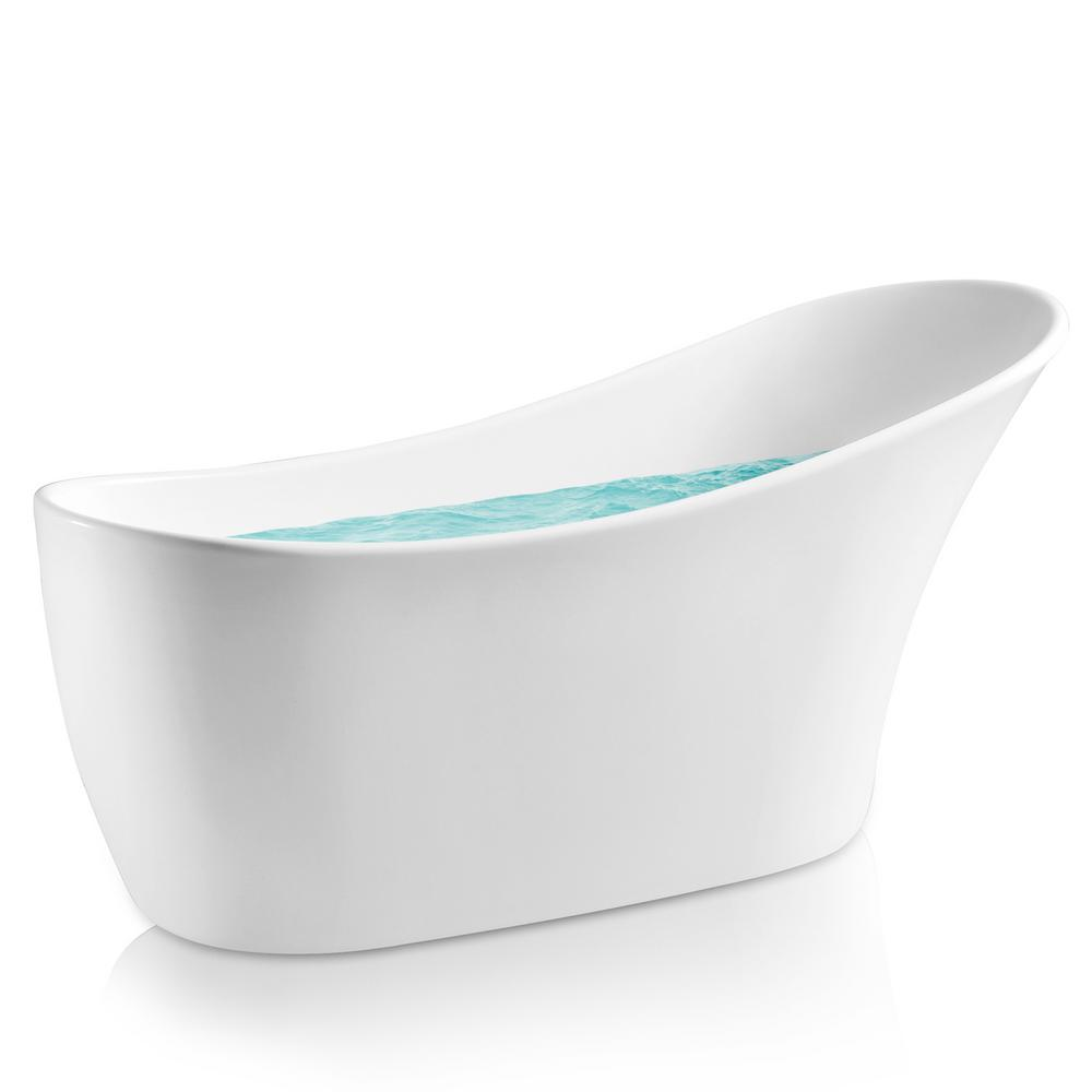 5.3 ft. Acrylic Reversible Drain Oval Slipper Flatbottom Freestanding Bathtub in