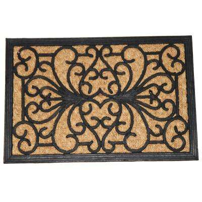 Evideco 16 in. x 24 in. Sheltered Front Door Mat Sally Natural Braided Coir Coco Rubber
