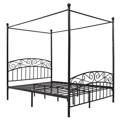 Black Queen Size Metal Canopy Platform Bed Frame with Headboard and Footboard