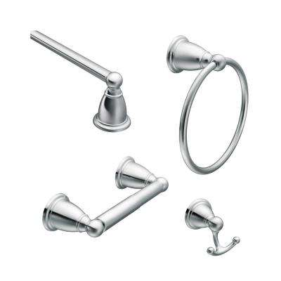 Brantford 4-Piece Bath Hardware Set with 18 in. Towel Bar, Paper Holder, Towel Ring, and Robe Hook in Chrome