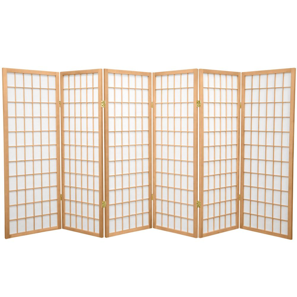 4 Ft Natural 6 Panel Room Divider Wp48 Nat 6p The Home Depot