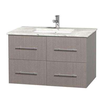 Centra 36 in. Vanity in Gray Oak with Marble Vanity Top in Carrara White and Undermount Sink