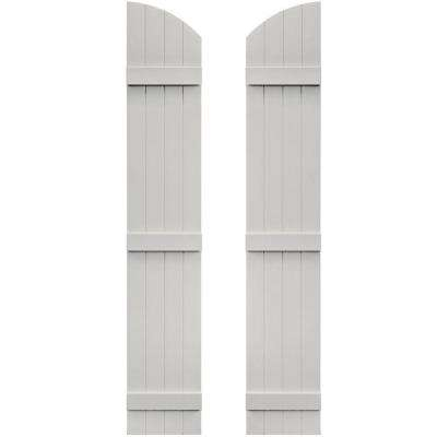 14 in. x 77 in. Board-N-Batten Shutters Pair, 4 Boards Joined with Arch Top #030 Paintable