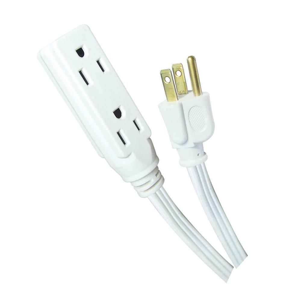15 ft. 16/3 Banana Tap Extension Cord, White