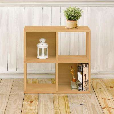 Quad 4-Cubby Natural Eco zBoard Stackable Tool-Free Assembly Bookcase and Storage Shelf Organizer