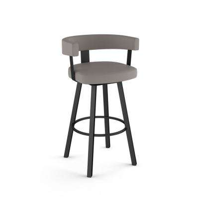Parker 26 in. Taupe Grey Faux Leather / Black Metal Swivel Counter Stool