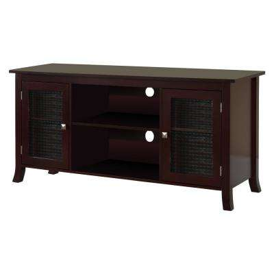 Dark Cherry TV Stand with Glass Doors 48 in.