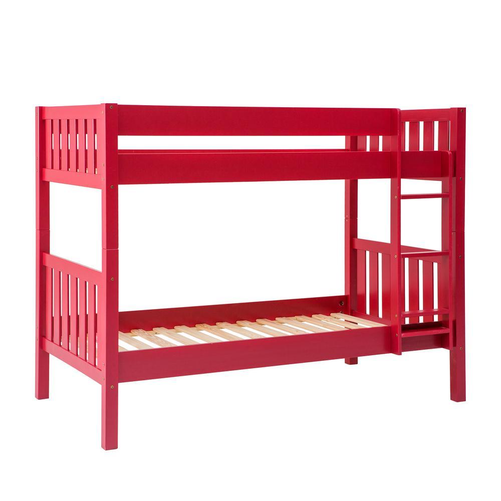 Walker Edison Furniture Company Red Solid Wood Cottage Slat Bunk Bed