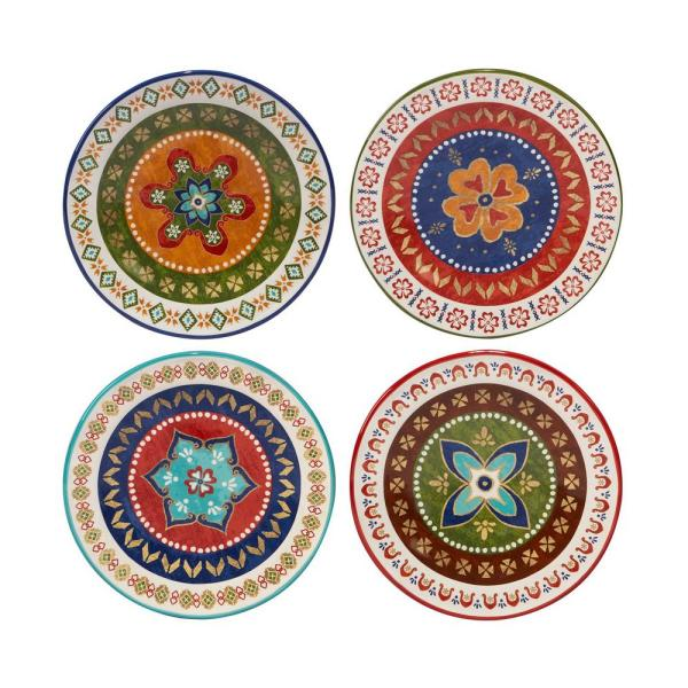 Certified International Monterrey 8.75 in. Multi-Colored Dessert Plate (Set of 4)