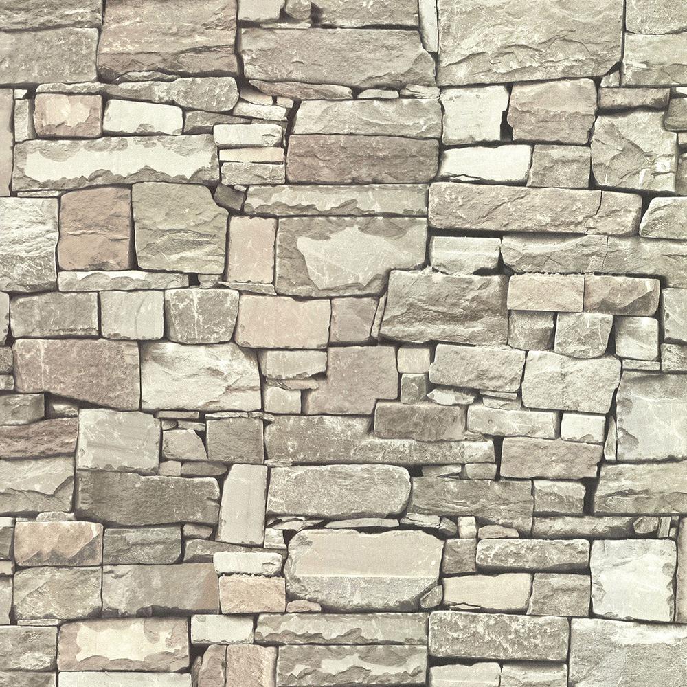 56.4 sq. ft. Tallulah Taupe Stone Wallpaper