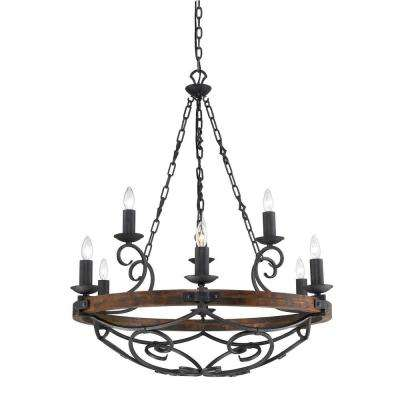 Vargas Collection 9-Light Black Iron 2-Tier Chandelier