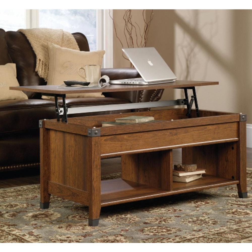 SAUDER Carson Forge Washington Cherry Built In Storage Coffee Table | Shop  Your Way: Online Shopping U0026 Earn Points On Tools, Appliances, Electronics U0026  More