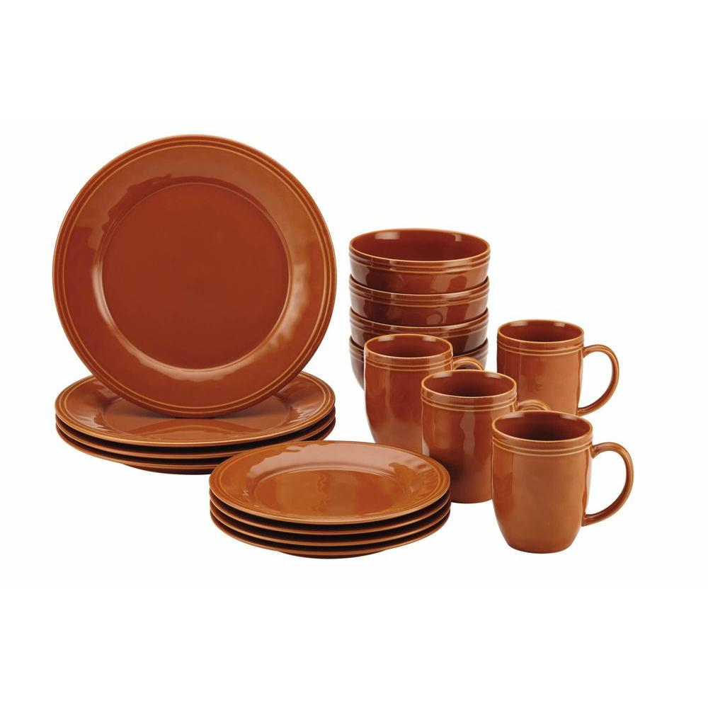 Rachael Ray Cucina Dinnerware 16-Piece Stoneware Dinnerware Set in Pumpkin Orange  sc 1 st  Home Depot & Rachael Ray Cucina Dinnerware 16-Piece Stoneware Dinnerware Set in ...