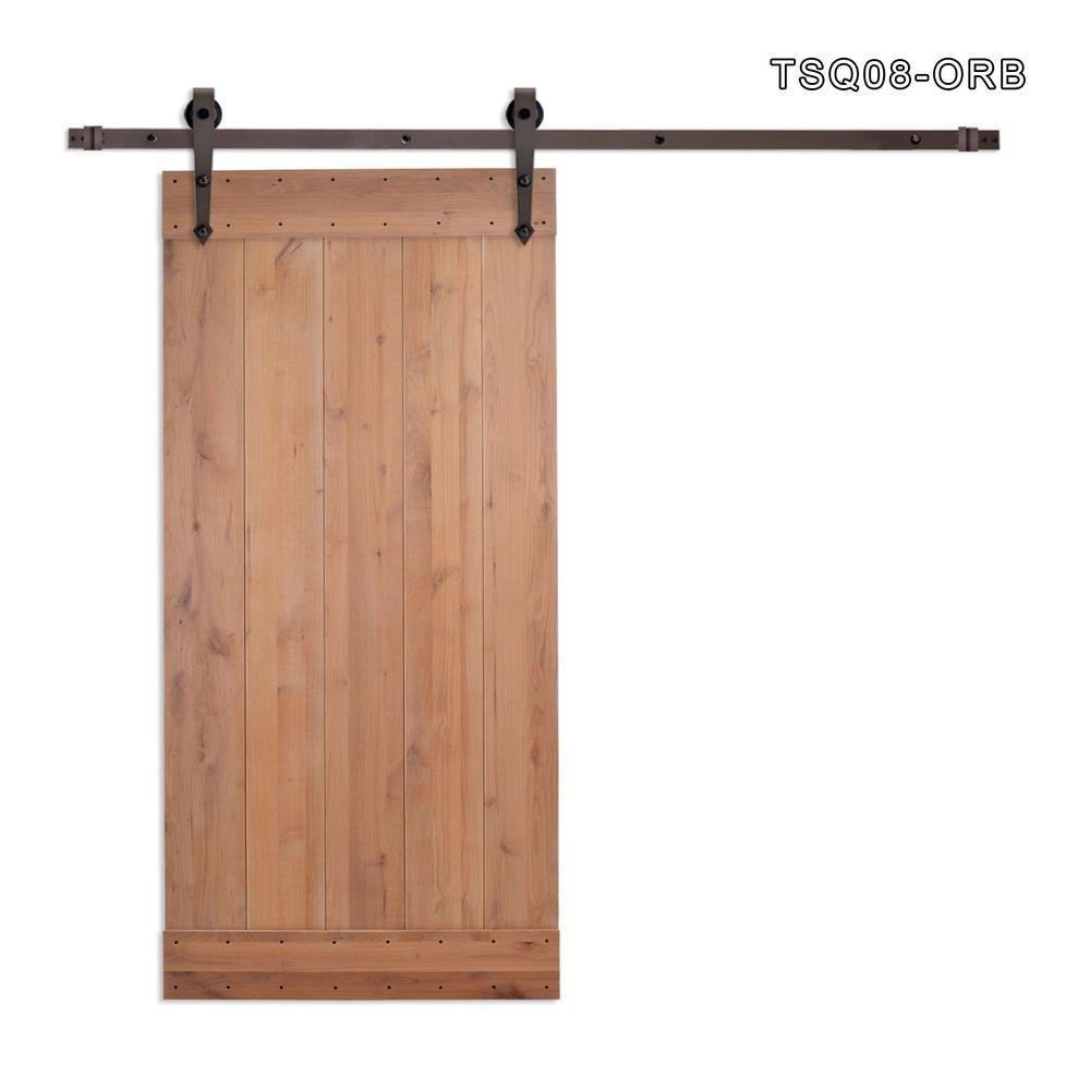 CALHOME 36 in. x 84 in. Vertical Slat Primed Wood Finish Sliding Barn Door with Sliding Door Hardware Kit, Tsq08-Orb