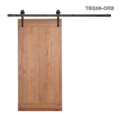 36 in. x 84 in. Vertical Slat Primed Wood Finish Sliding Barn Door with Sliding Door Hardware Kit