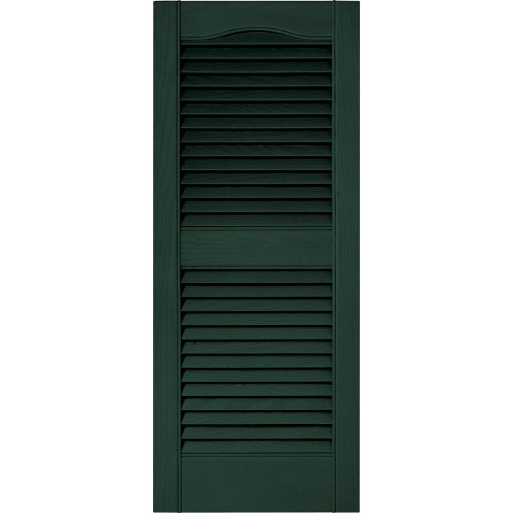 15 in. x 36 in. Louvered Vinyl Exterior Shutters Pair in