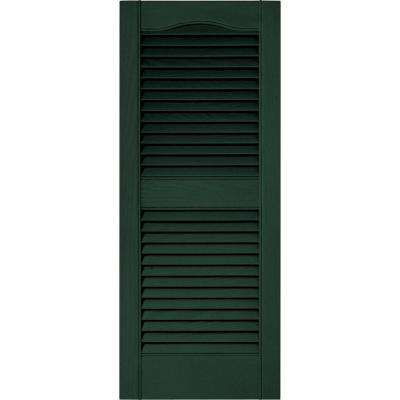 15 in. x 36 in. Louvered Vinyl Exterior Shutters Pair in #122 Midnight Green