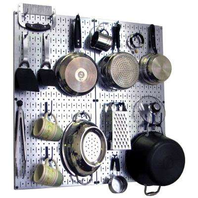 Kitchen Pegboard 32 in. x 32 in. Steel Peg Board Pantry Organizer Kitchen Pot Rack Metallic Pegboard and Blue Peg Hooks