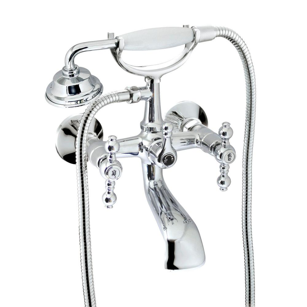 MODONA Classic 6 in. 2-Handle 1-Spray Tub and Shower Faucet with Porcelain Hand Held Shower in Polished Chrome (Valve Included)
