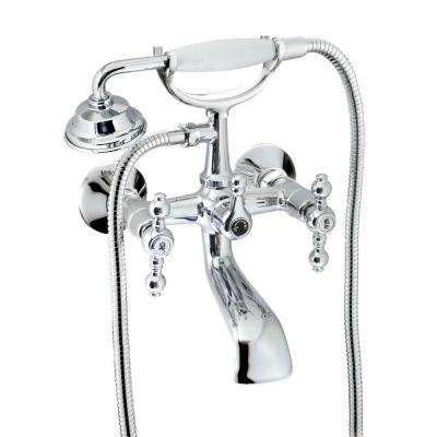 Classic 6 in. 2-Handle 1-Spray Tub and Shower Faucet with Porcelain Hand Held Shower in Polished Chrome (Valve Included)