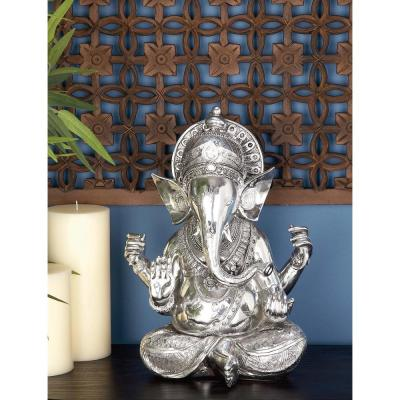 16 in. X 12 in. Antique Silver Sitting Ganesh Sculpture with Patterned Detailing