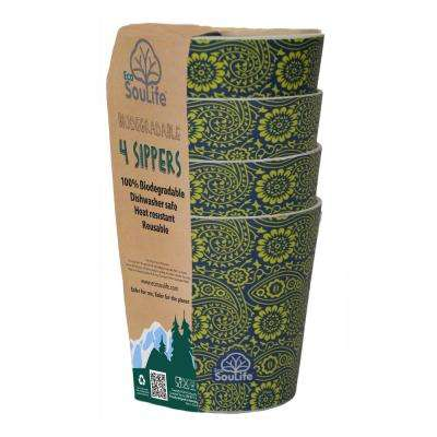 8-Piece 8.4 Cup Paisley Bamboo Sipper Cup