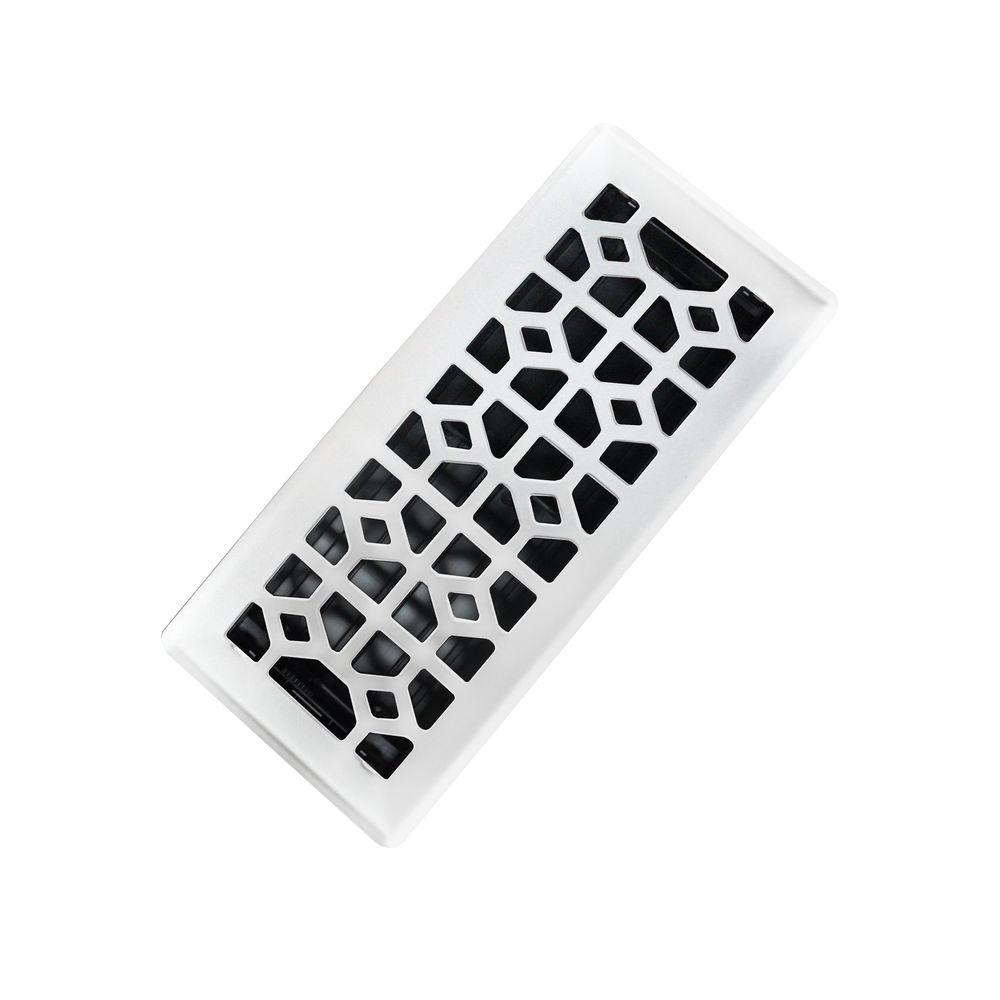 3 in. x 10 in. Abstract Steel Floor Register in White