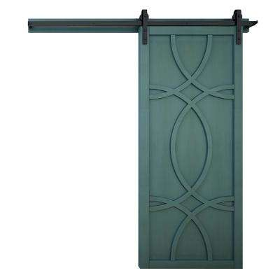 42 in. x 84 in. Hollywood Caribbean Wood Barn Door with Sliding Door Hardware Kit