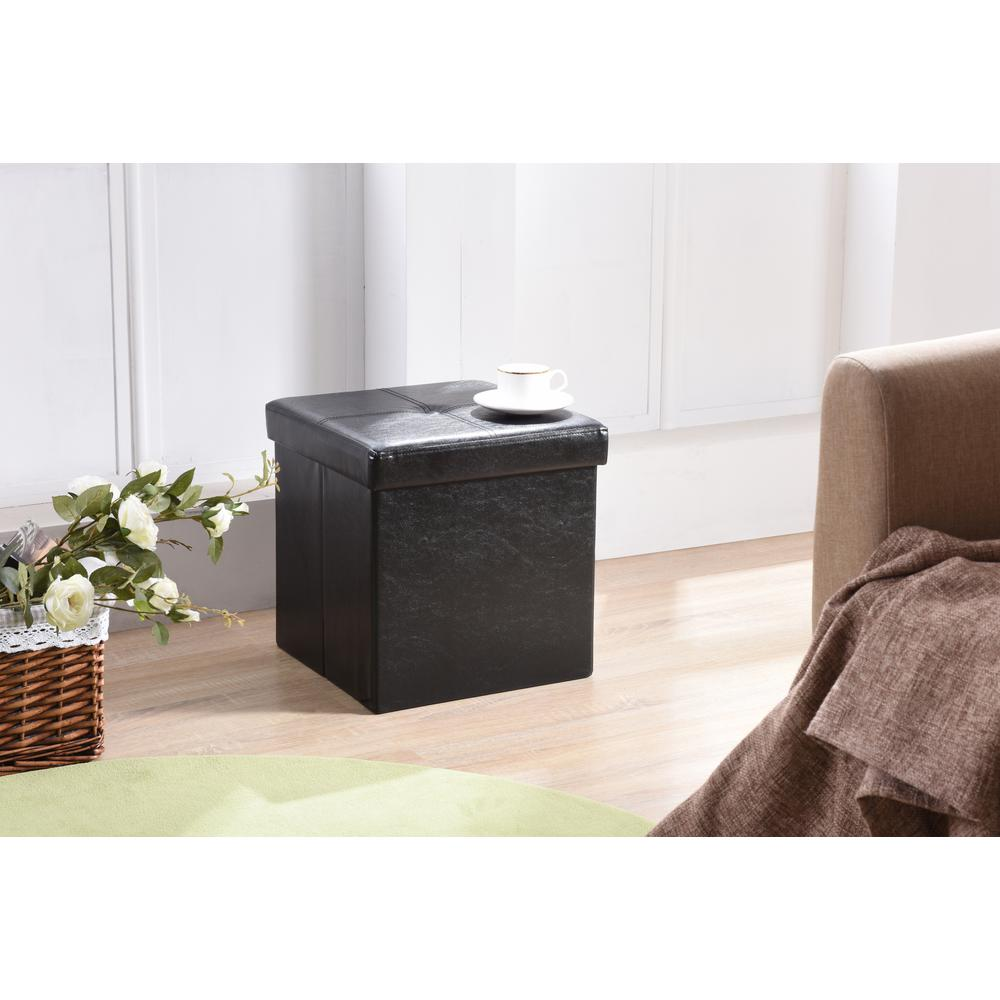 Hodedah Cube Storage Ottoman In Black