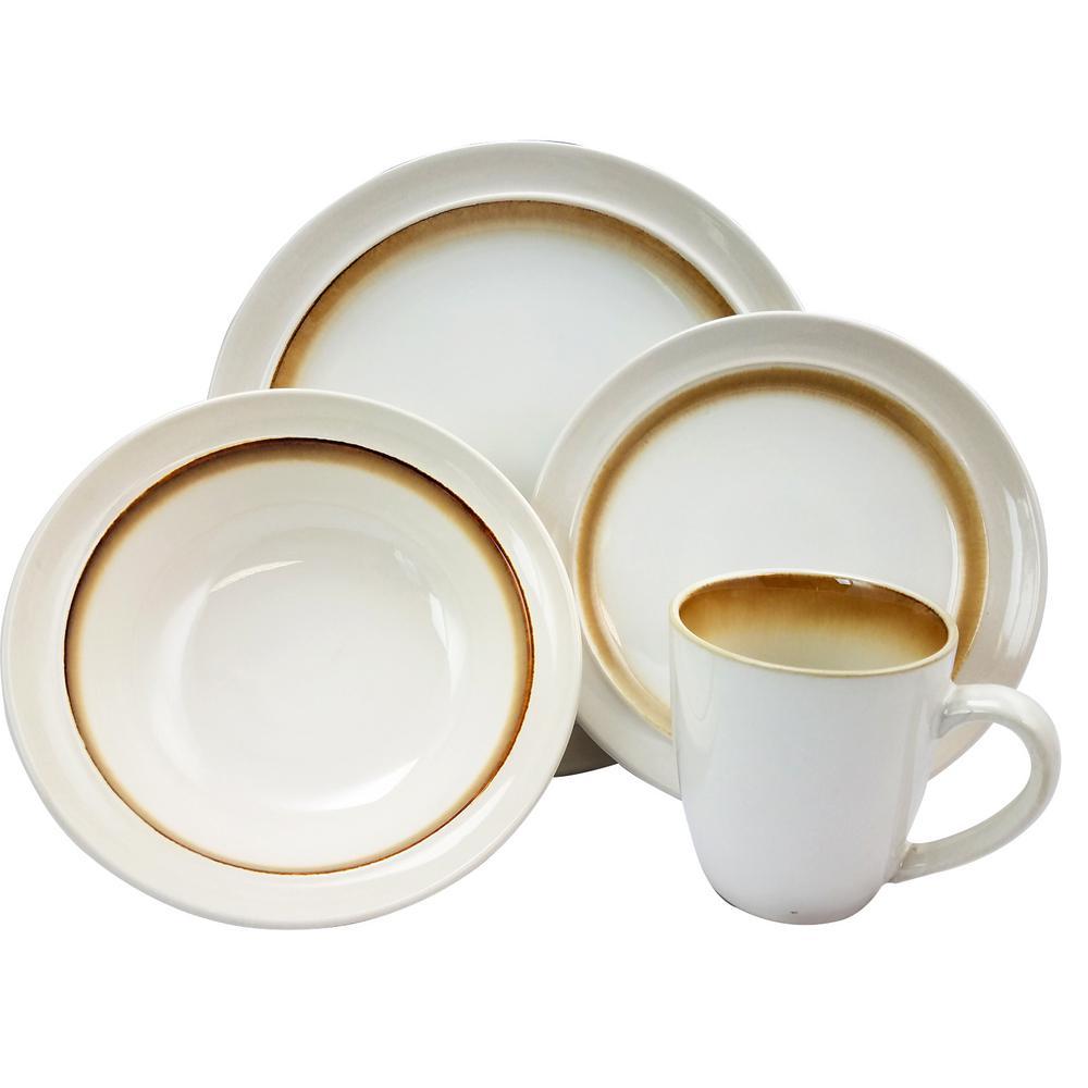GIBSON elite Lawson 16-Piece Brown Dinnerware Set 98597341M