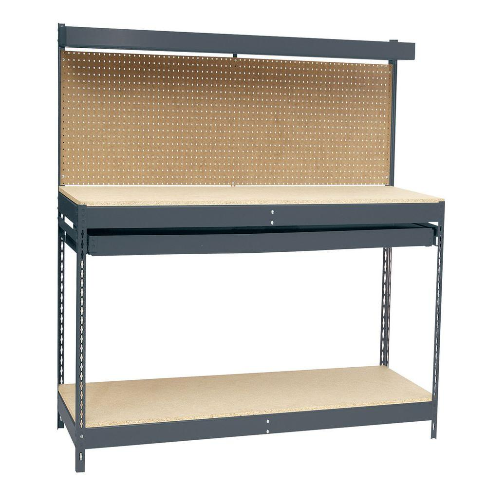 Super Edsal 48 In W X 24 In D Workbench With Storage Andrewgaddart Wooden Chair Designs For Living Room Andrewgaddartcom