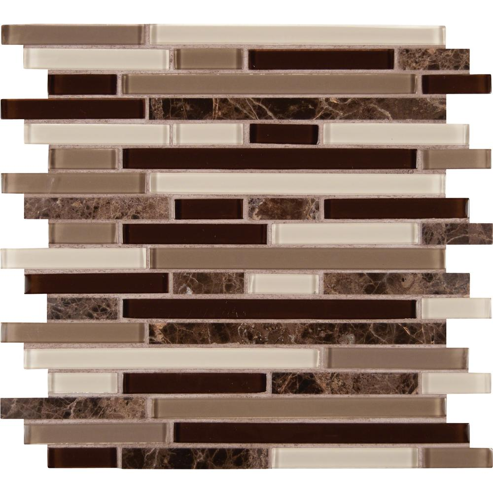 MSI Royal Oaks 12 in. x 12 in. x 8 mm Glass Marble Mesh-Mounted Mosaic Tile