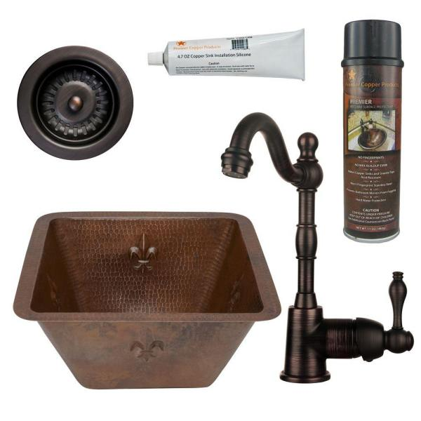 All-in-One Dual Mount Copper 15 in. Square Fleur De Lis Bar/Prep Sink with Faucet and Strainer Drain in ORB
