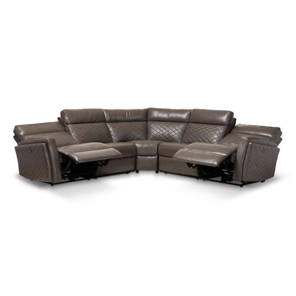 Baxton Studio Alvar Gray Faux Leather Sectional 150-8329-HD