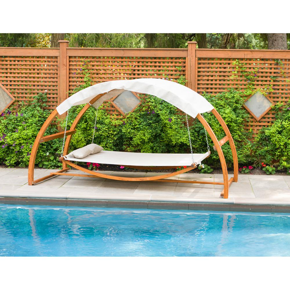 leisure season patio swing bed with canopy sbwc402 the home depot. Black Bedroom Furniture Sets. Home Design Ideas