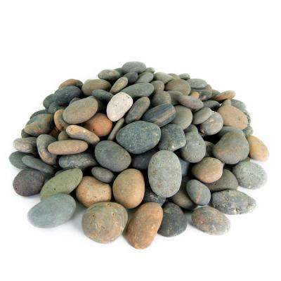 0.25 cu. ft. 3 in. to 5 in. Mixed Mexican Beach Pebble Smooth Round Rock for Gardens, Landscapes, and Ponds