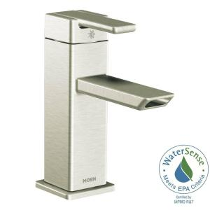 Moen 90 Degree Single Hole Single Handle Low Arc Bathroom Faucet In Brushed Nickel S6700bn The