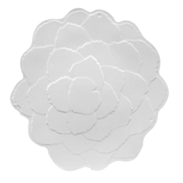 Encore Botanical Galax Leaf Porcelain White Dinner Plate (Set of 4)