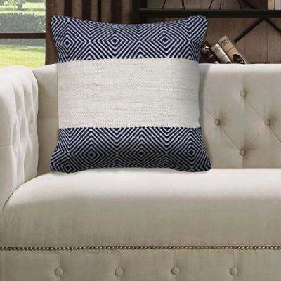 Geometric Trellis 18 in. x 18 in. Blue/White Throw Pillow
