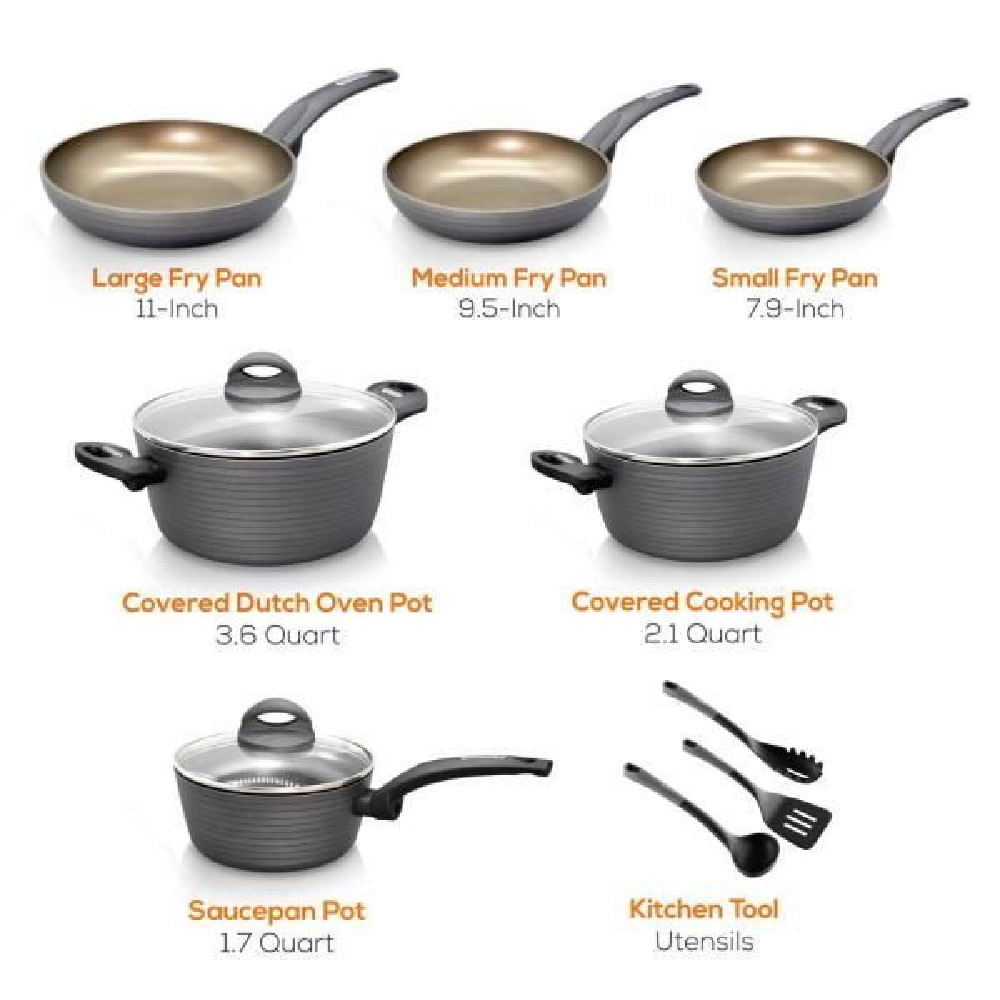 Nutrichef Ridge Line 12 Piece Aluminum Nonstick Cookware Set In Chrome Nccw12s The Home Depot