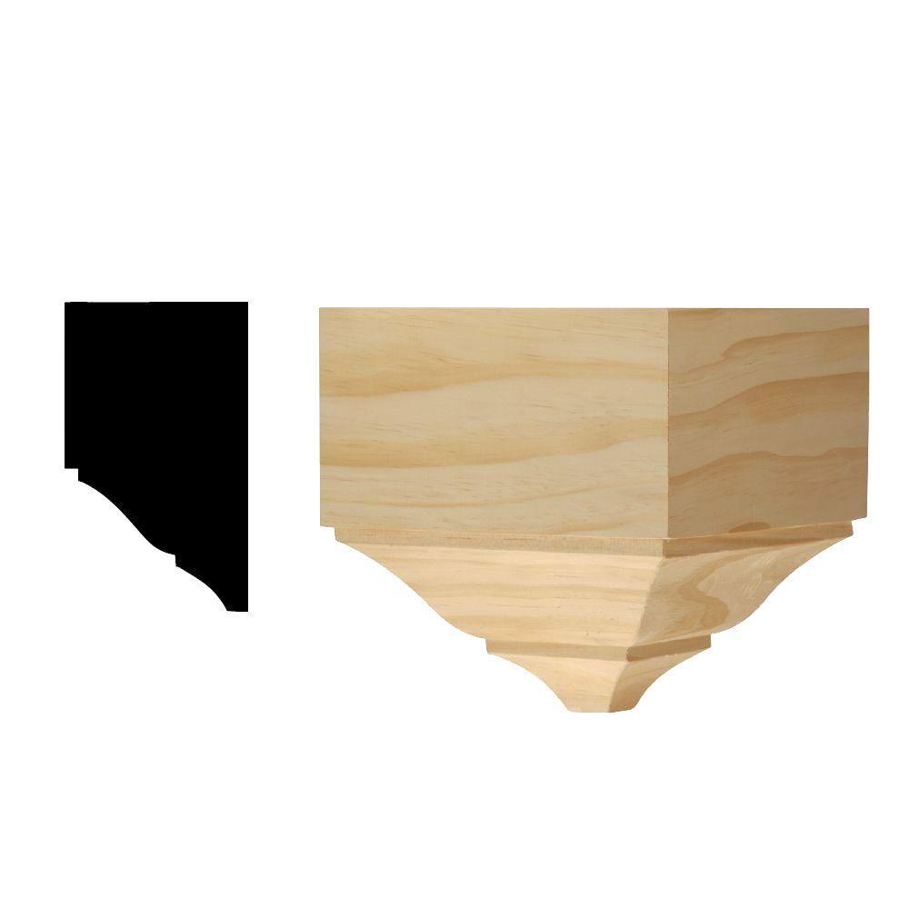DM 358 3-1/2 in. x 7 in. x 7-1/2 in. Solid Pine Miterless Outside Corner Block for Crown Moulding