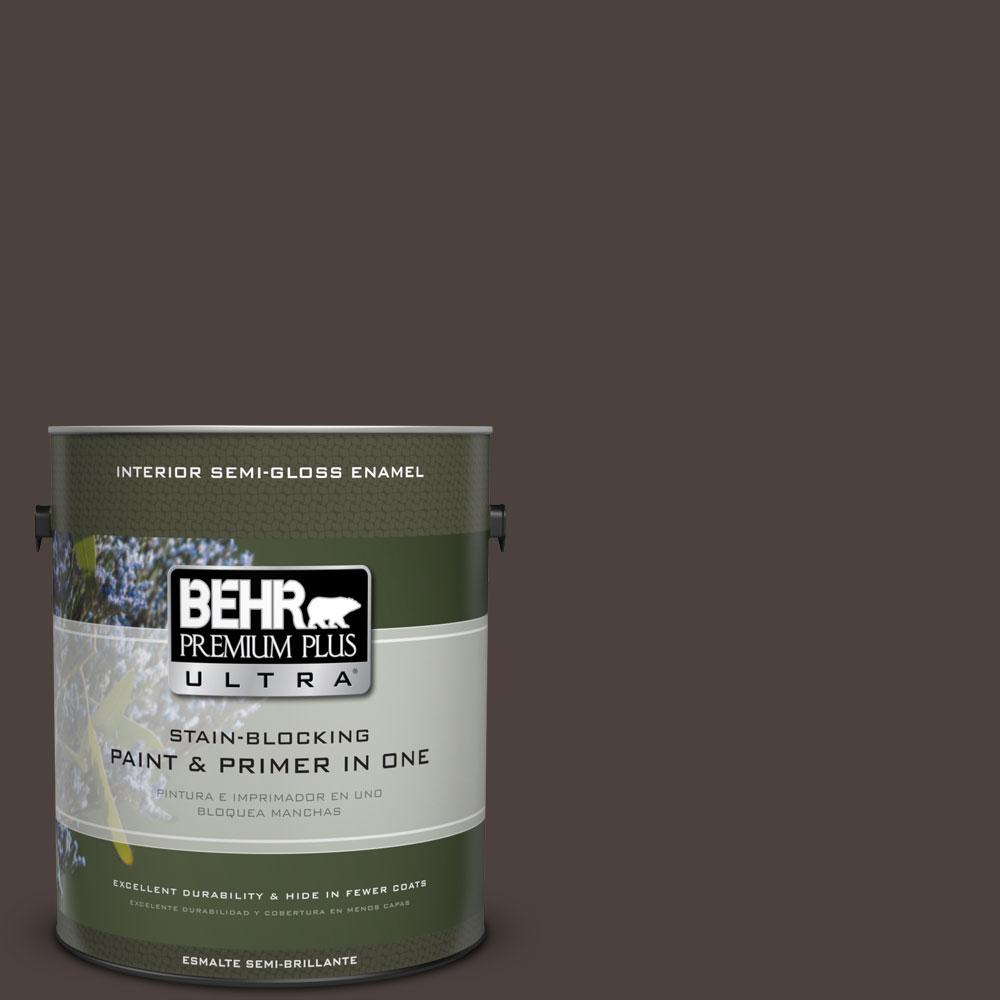1-gal. #790B-7 Bitter Chocolate Semi-Gloss Enamel Interior Paint