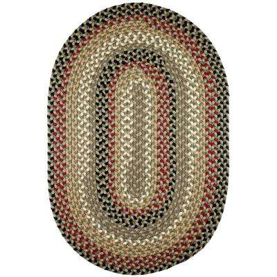 Country Medley Forest Green 5 ft. x 8 ft. Oval Indoor/Outdoor Braided Area Rug