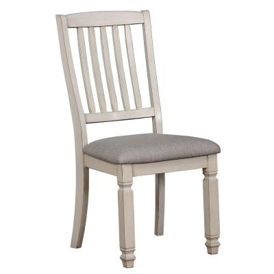 Benjara Antique White and Gray Slatted Back Side Chair with Fabric Seat (Set of 2)