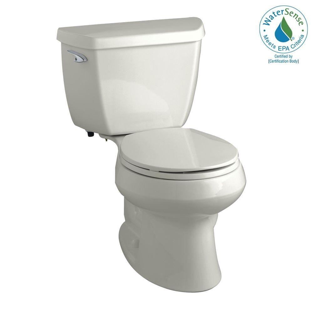 KOHLER Wellworth Classic 2-Piece 1.28 GPF Round Front Toilet with Class Five Flushing Technology in Ice Grey