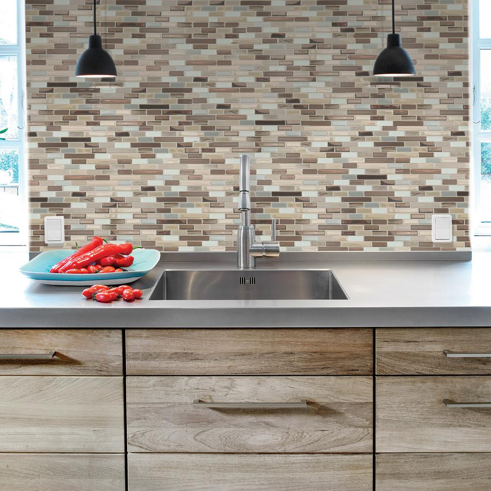 Smart Tiles Muretto Durango 10 20 in  W x 9 H Peel and Stick Decorative Mosaic Wall Tile Backsplash 6 Pack SM1053 The Home Depot