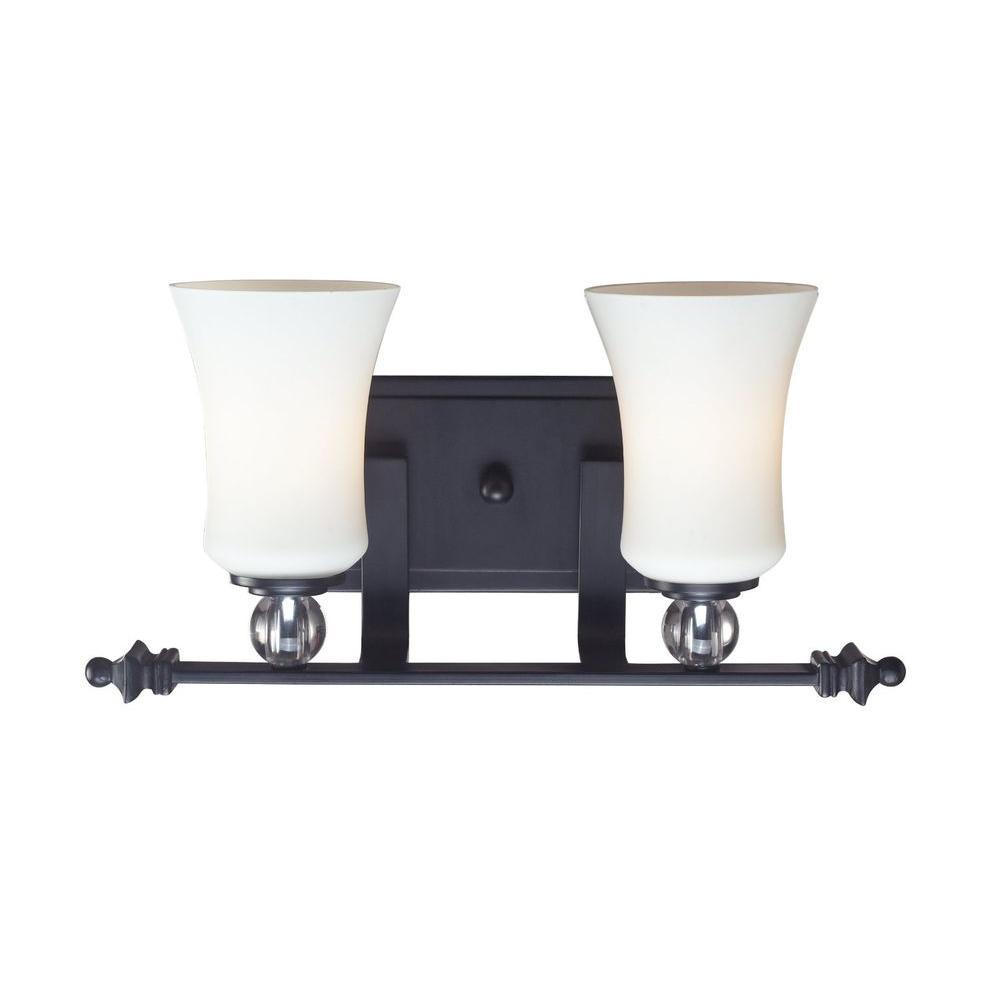 Lawrence 2-Light Matte Black Incandescent Bath Vanity Light