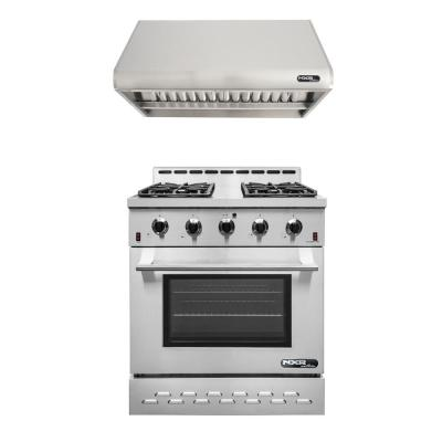 Entree Bundle 30 in. 4.5 cu. ft. Pro-Style Gas Range with Convection Oven and Range Hood in Stainless Steel and Black